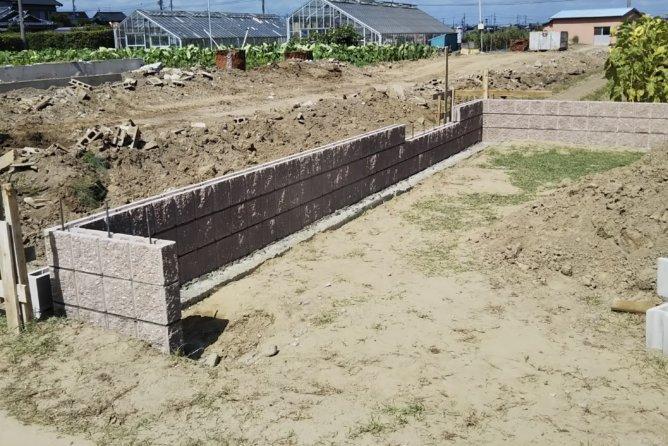 境界化粧ブロック+フェンス